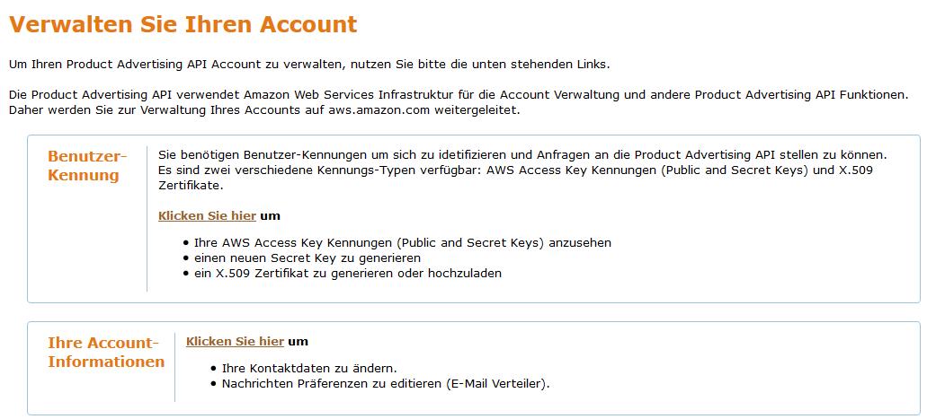 Account Verwaltung