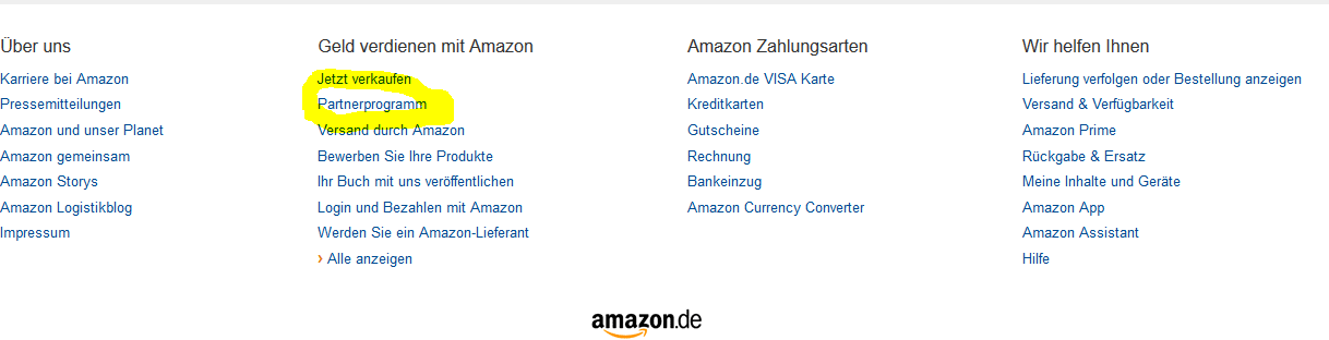 Amazon Footer