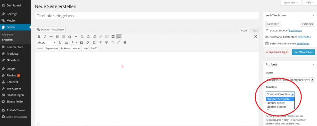 Startseite erstellen Sidebar - Affiliseo